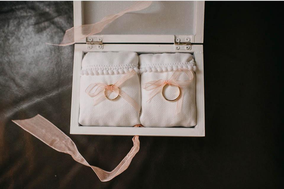 Cajas anillos y arras boda María y Pablo